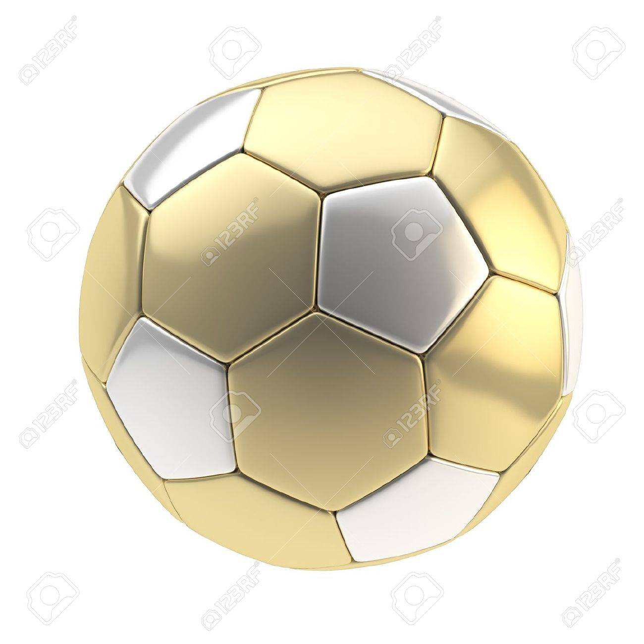 Gold and silver metallic football ball isolated on white Stock Photo - 13362660