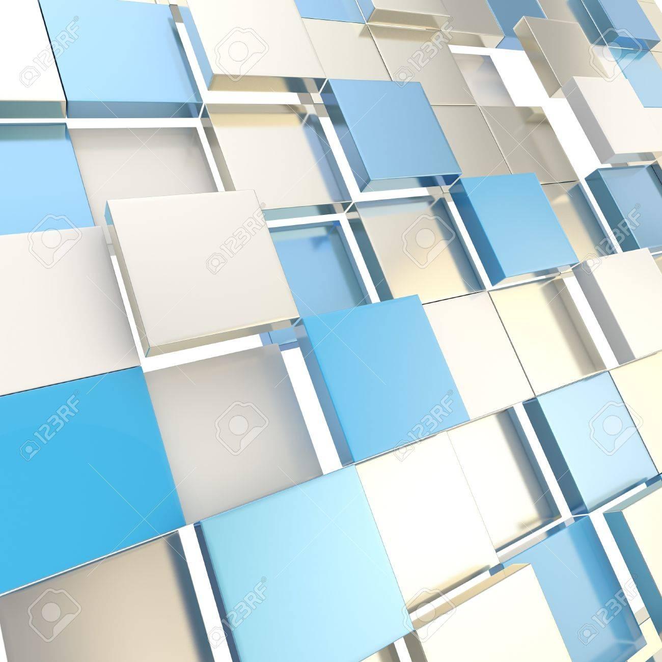 Fondo Abstracto Cubo Plata Brillante Y Azul Telón De Fondo Tecno