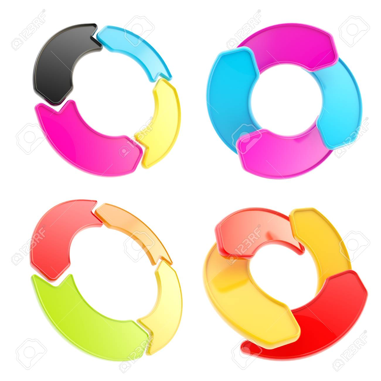 Four colorful glossy arrow copyspace emblem circular round tag isolated on white, set of four Stock Photo - 15090690