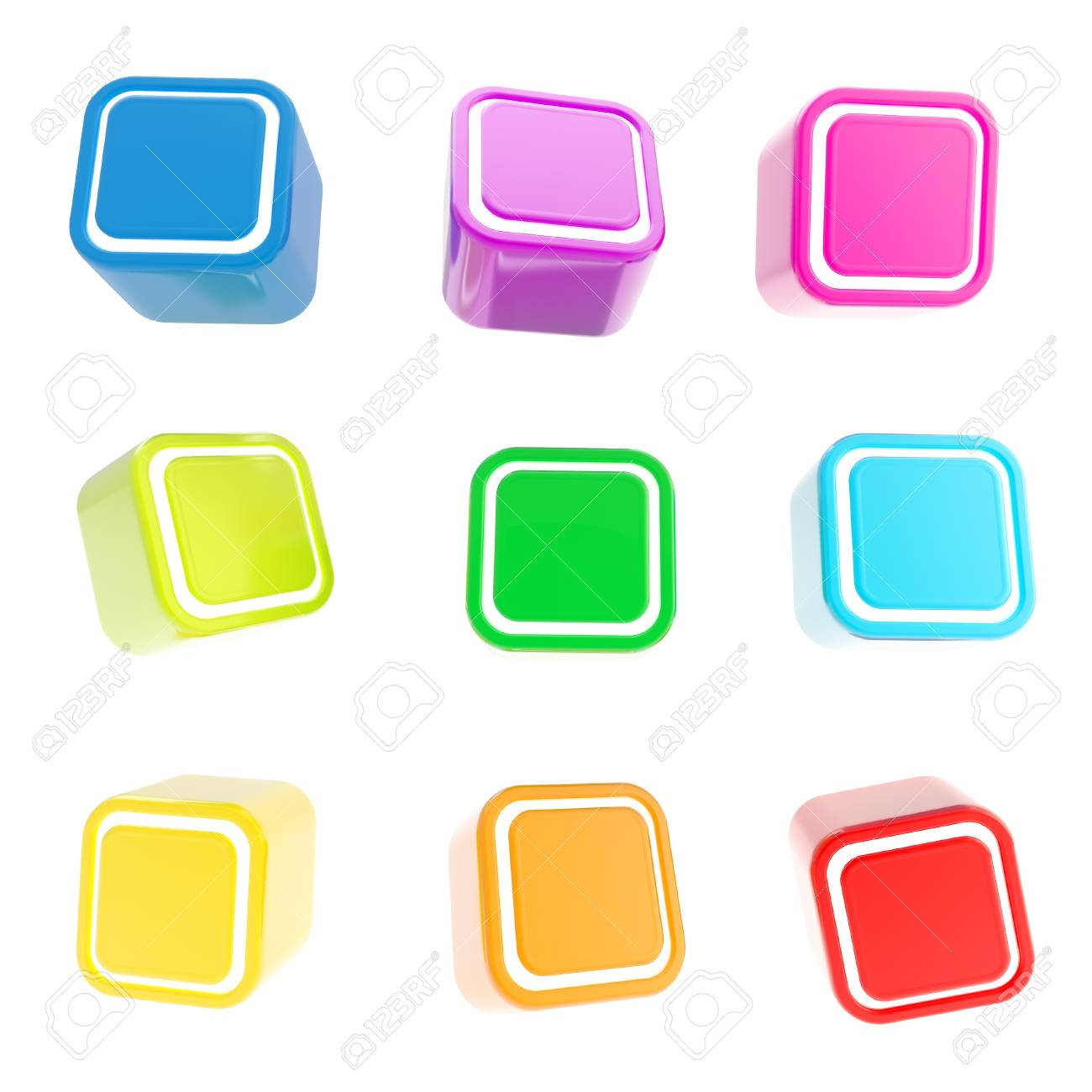 Cubic colorful glossy square buttons, set of nine isolated on white Stock Photo - 15100587