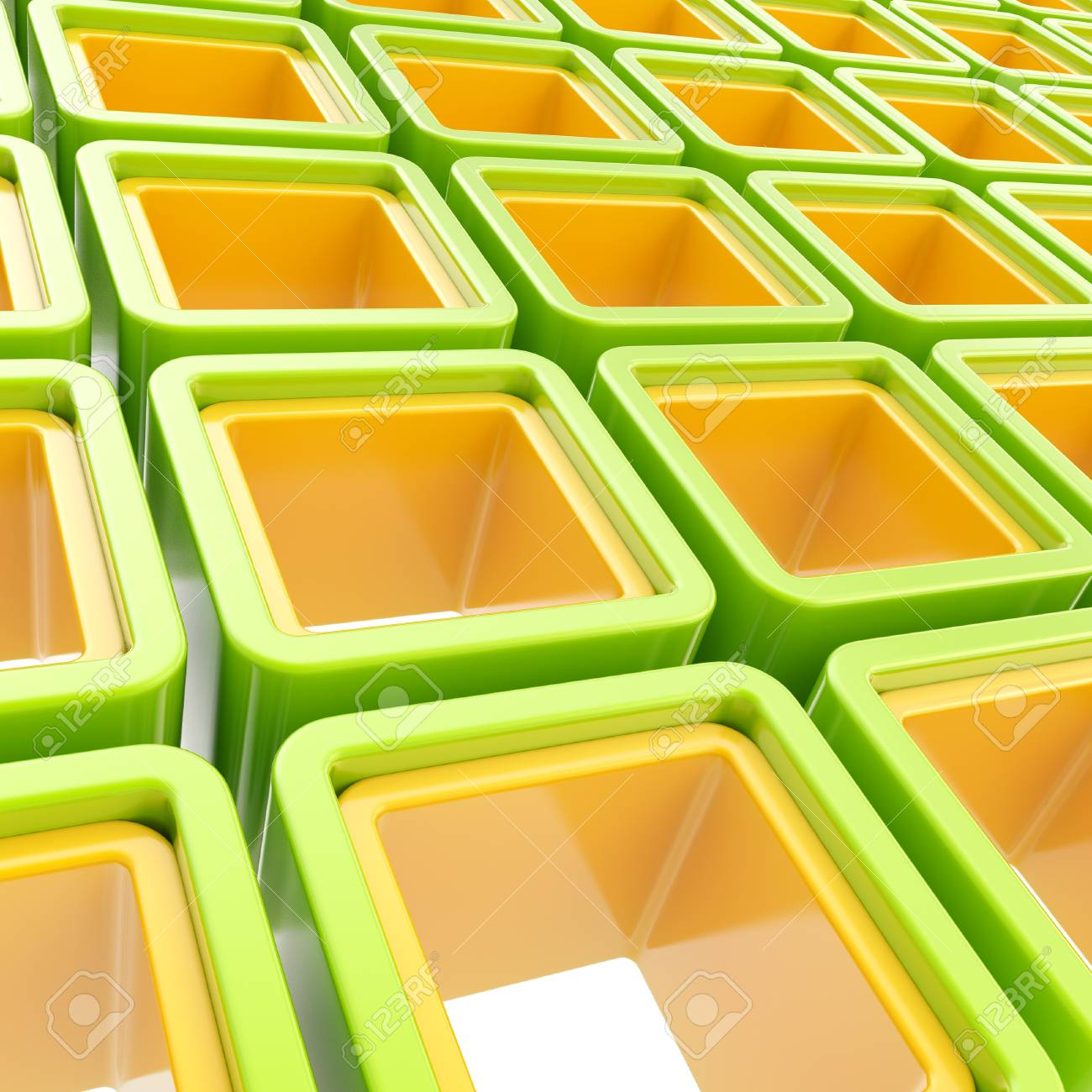 Colorful green and orange glossy cube cell composition as abstract background Stock Photo - 15101090