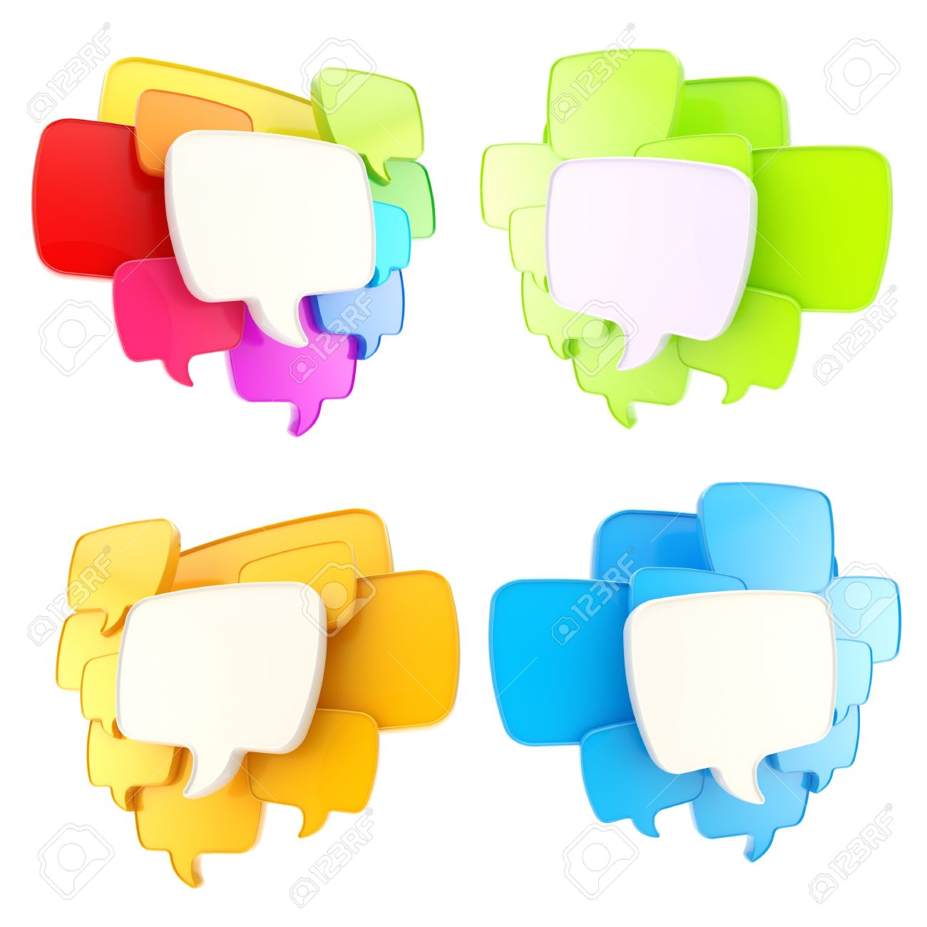 Cloud group of speech text bubbles compositions as copyspace banner plates isolated on white, set of four Stock Photo - 15971371