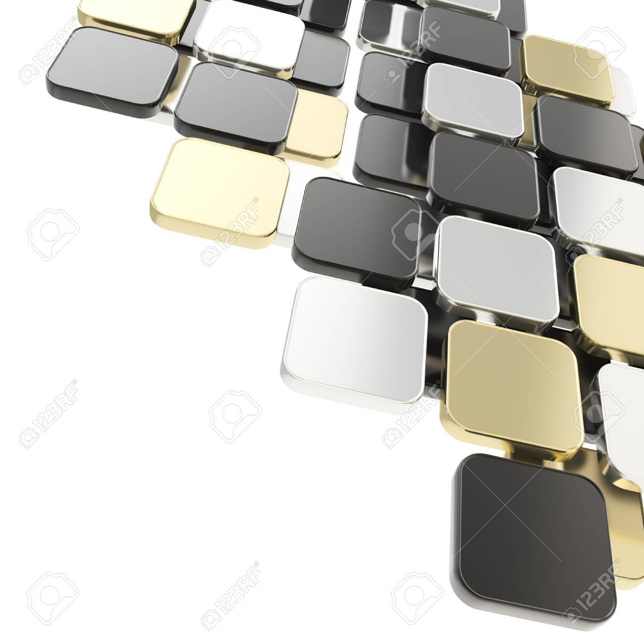 Abstract copyspace glossy black, golden, silver plate composition background over white with the space for your text Stock Photo - 15971713