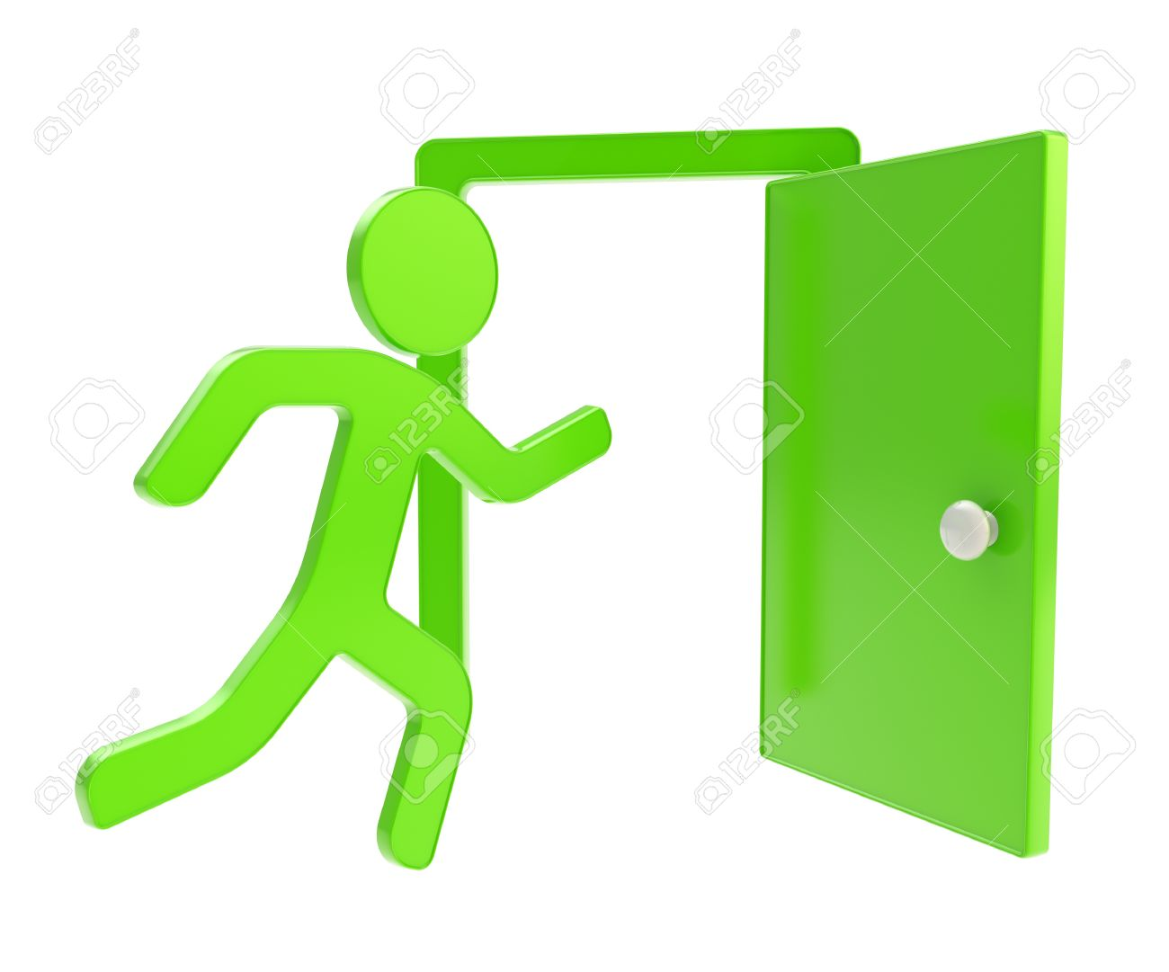 Emergency stop icon clipart emergency off - Emergency Exit Sign Icon Quit Emergency Exit Green Icon Glossy Dimensional Emblem Isolated On
