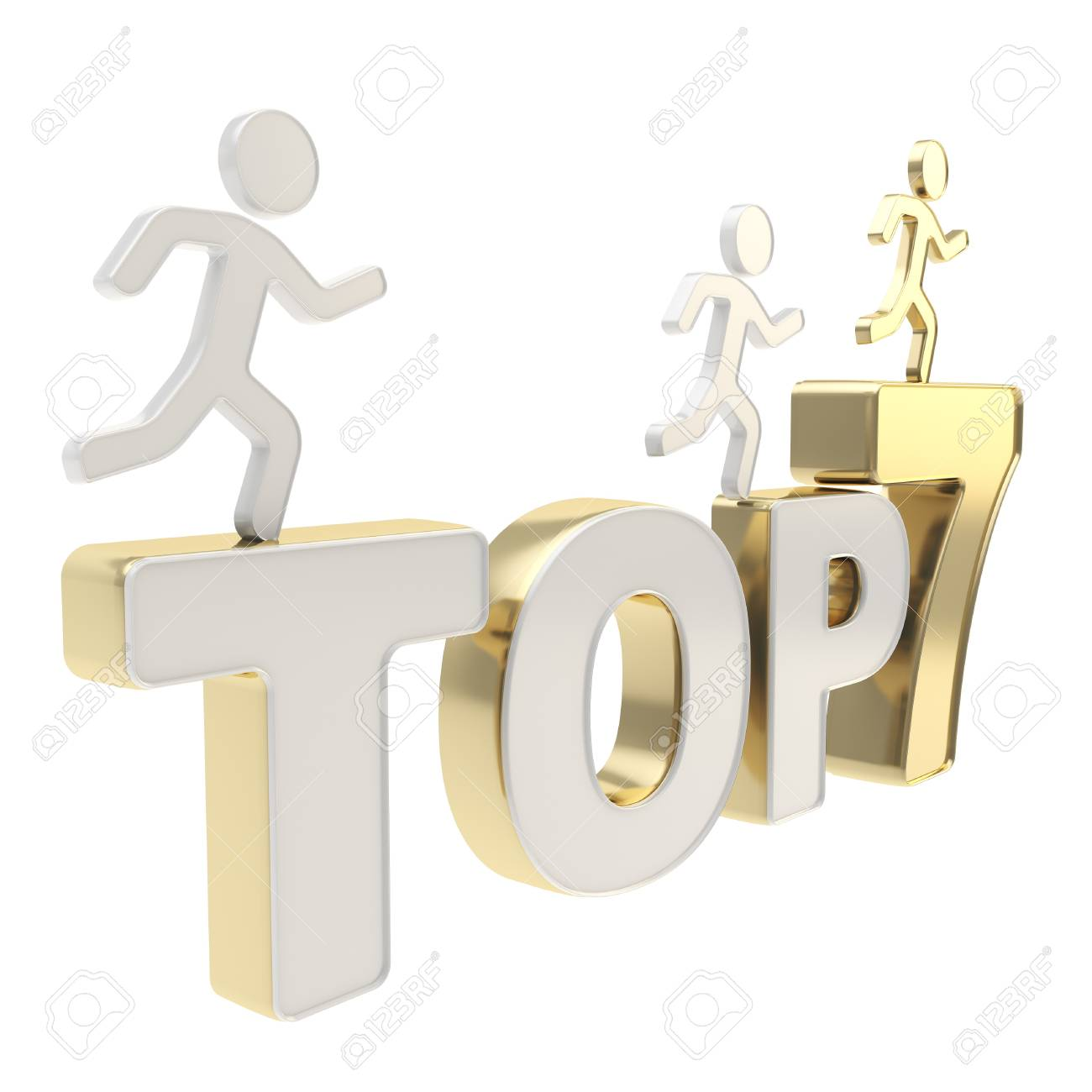 Top seven leaders illustration  group of human symbolic figures running over the golden chrome metal Top-7 composition isolated on white background Stock Photo - 17226463