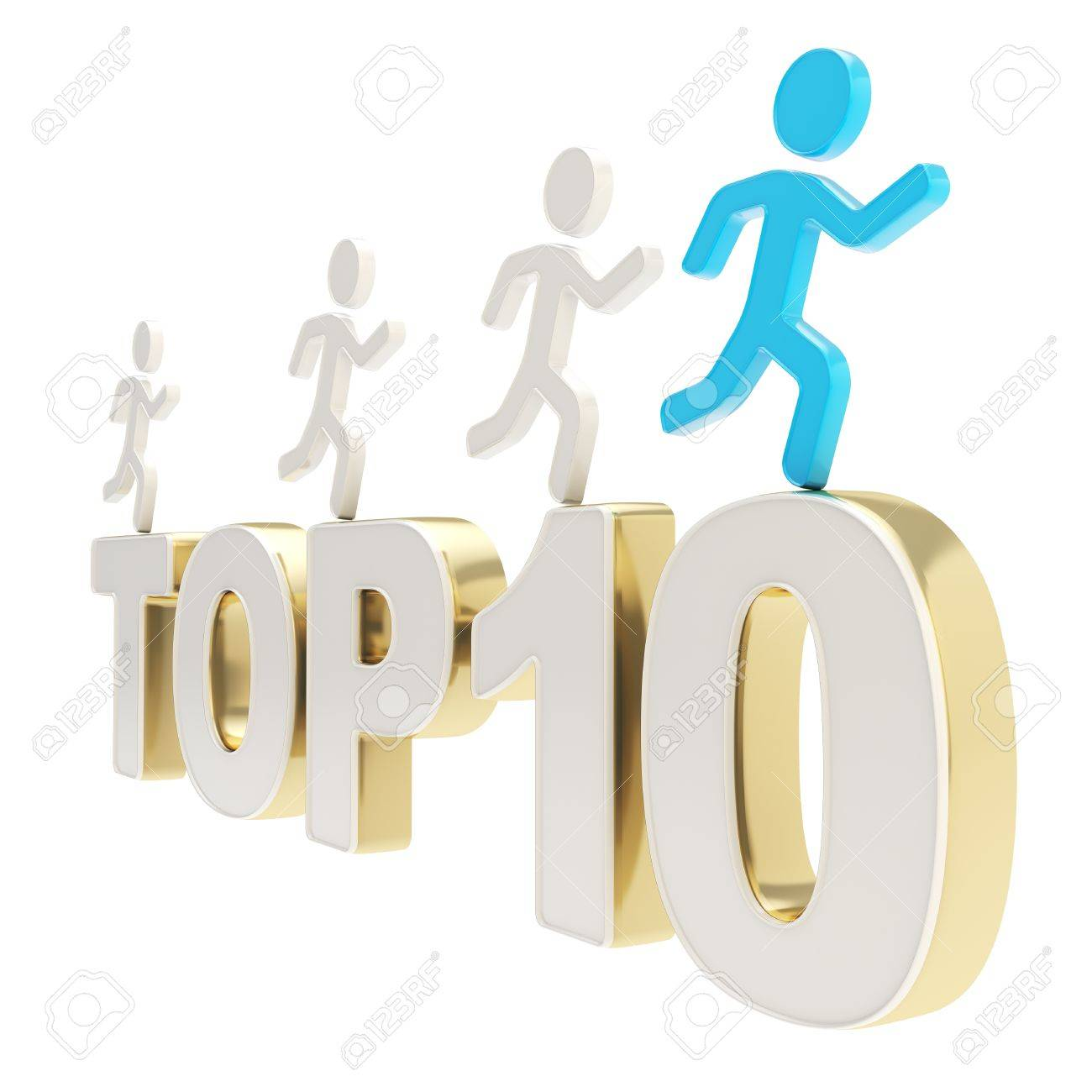 Top ten leaders illustration  group of human symbolic figures running over the golden Top-10 composition isolated on white background Stock Photo - 17226476