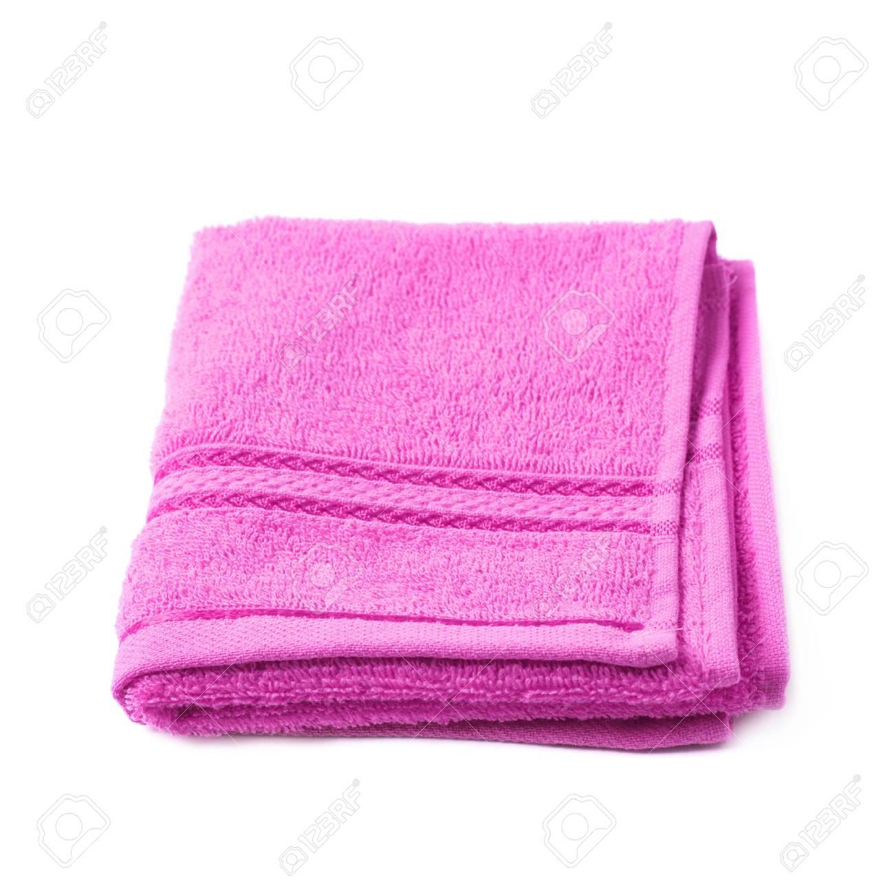 Einzel Lila Rosa Frottee Handtuch über Dem Weißen Hintergrund