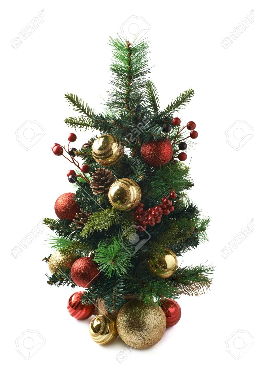 Tiny Christmas.Tiny Christmas Tree Decorated With Balls Composition Isolated