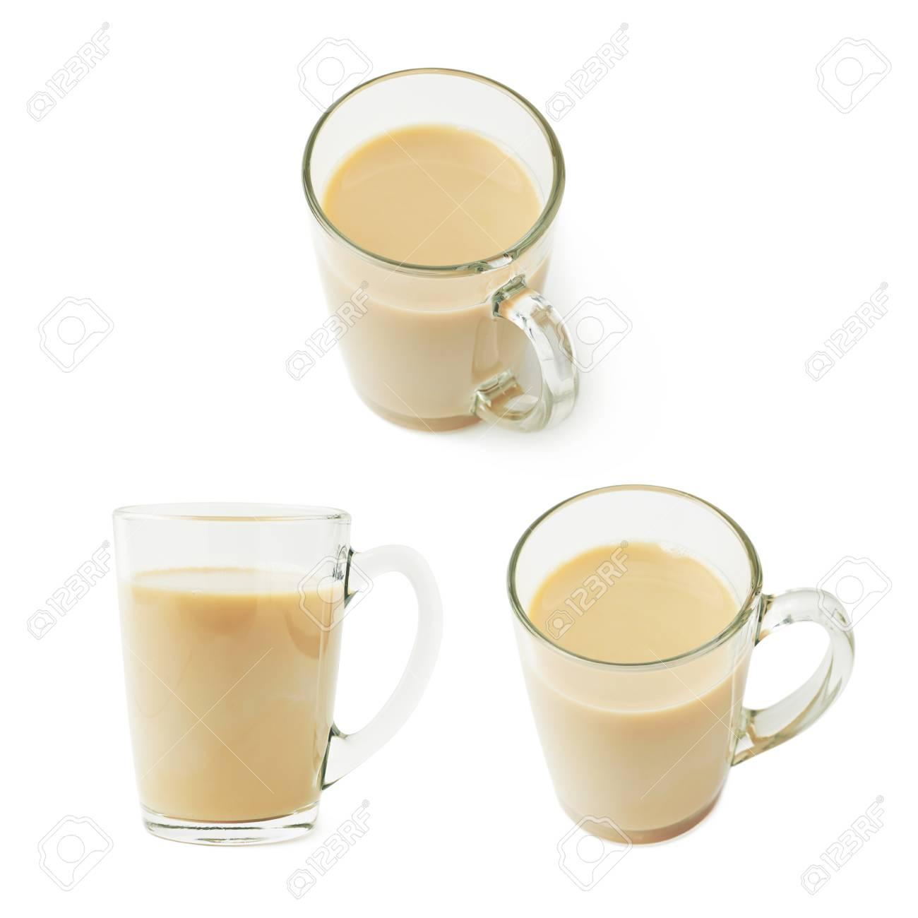 Fond Isolé Trois Différents En Mug Rempli Ou Verre Au Latte Cappuccino Lait Sur BlancEnsemble De Raccourcis Café kiuXTOPZ