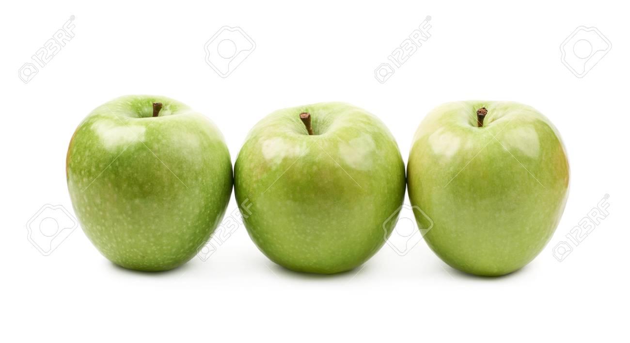 Abuelas Maduras composición de múltiples abuelas maduras y verdes smith manzanas aisladas  sobre el fondo blanco