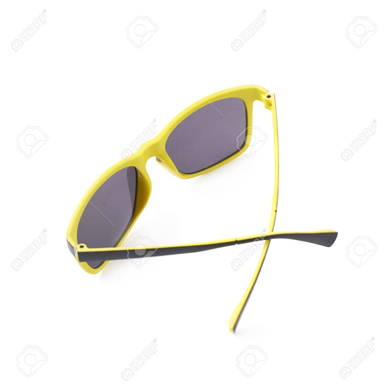 Pair Of Yellow Plastic Sunglasses With The Dark Shades Composition Stock Photo Picture And Royalty Free Image Image 59658334