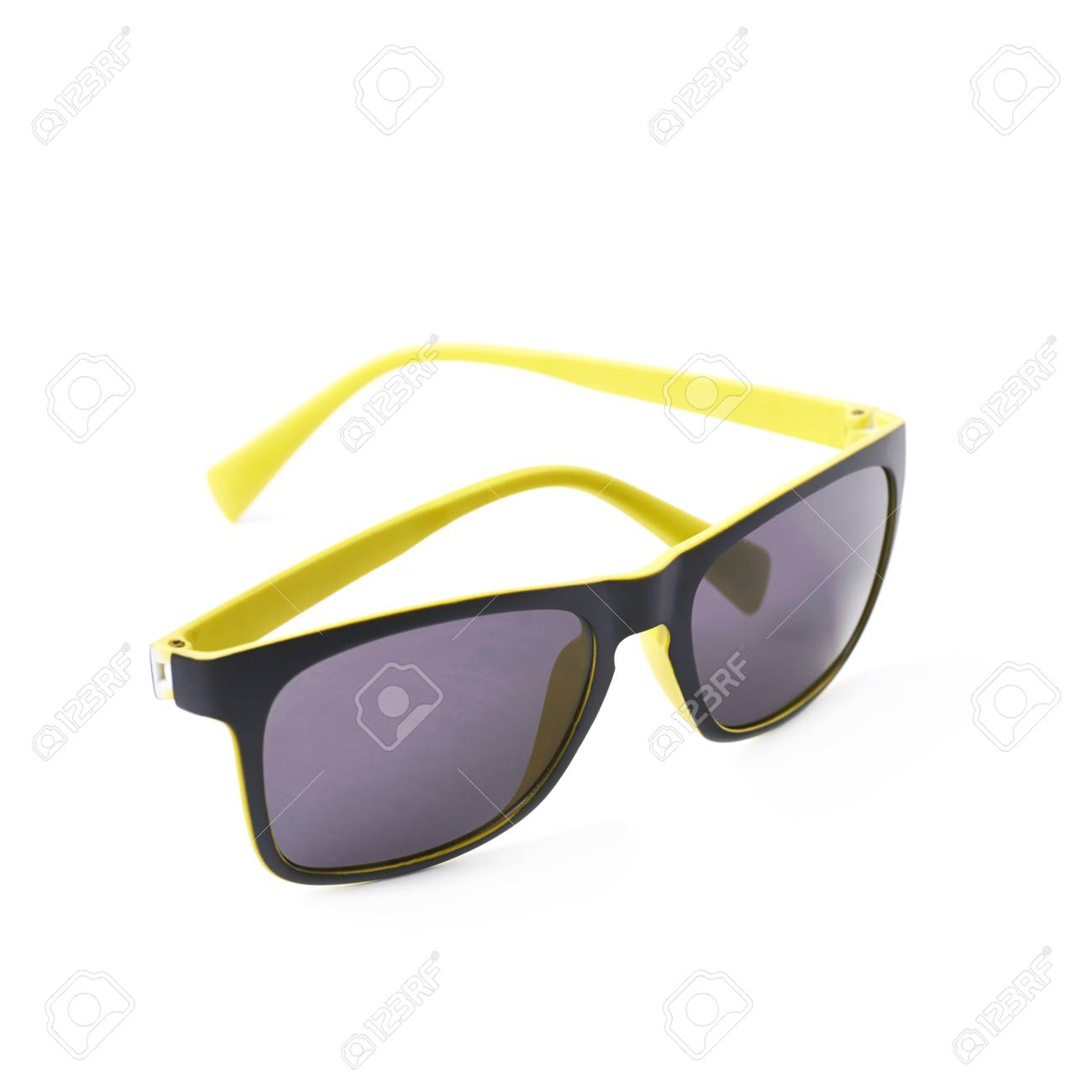 Pair Of Yellow Plastic Sunglasses With The Dark Shades Composition Stock Photo Picture And Royalty Free Image Image 60990414