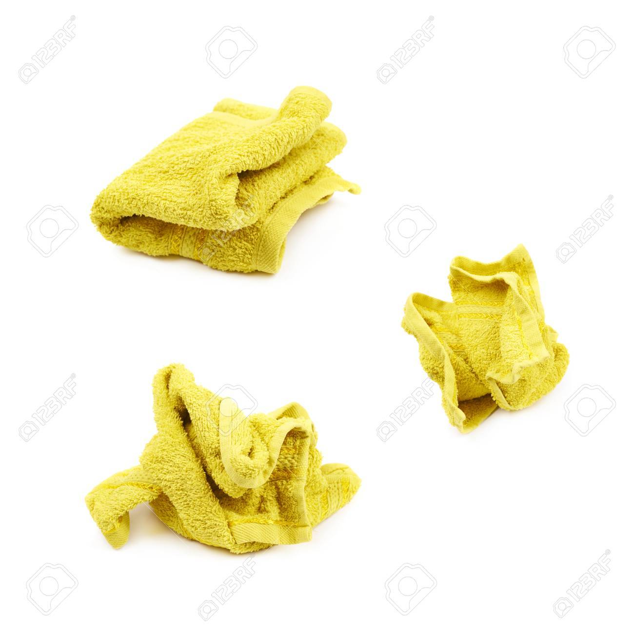 6d0defcf394ae0 Crumpled Yellow Kitchen Towel Isolated Over The White Background ...