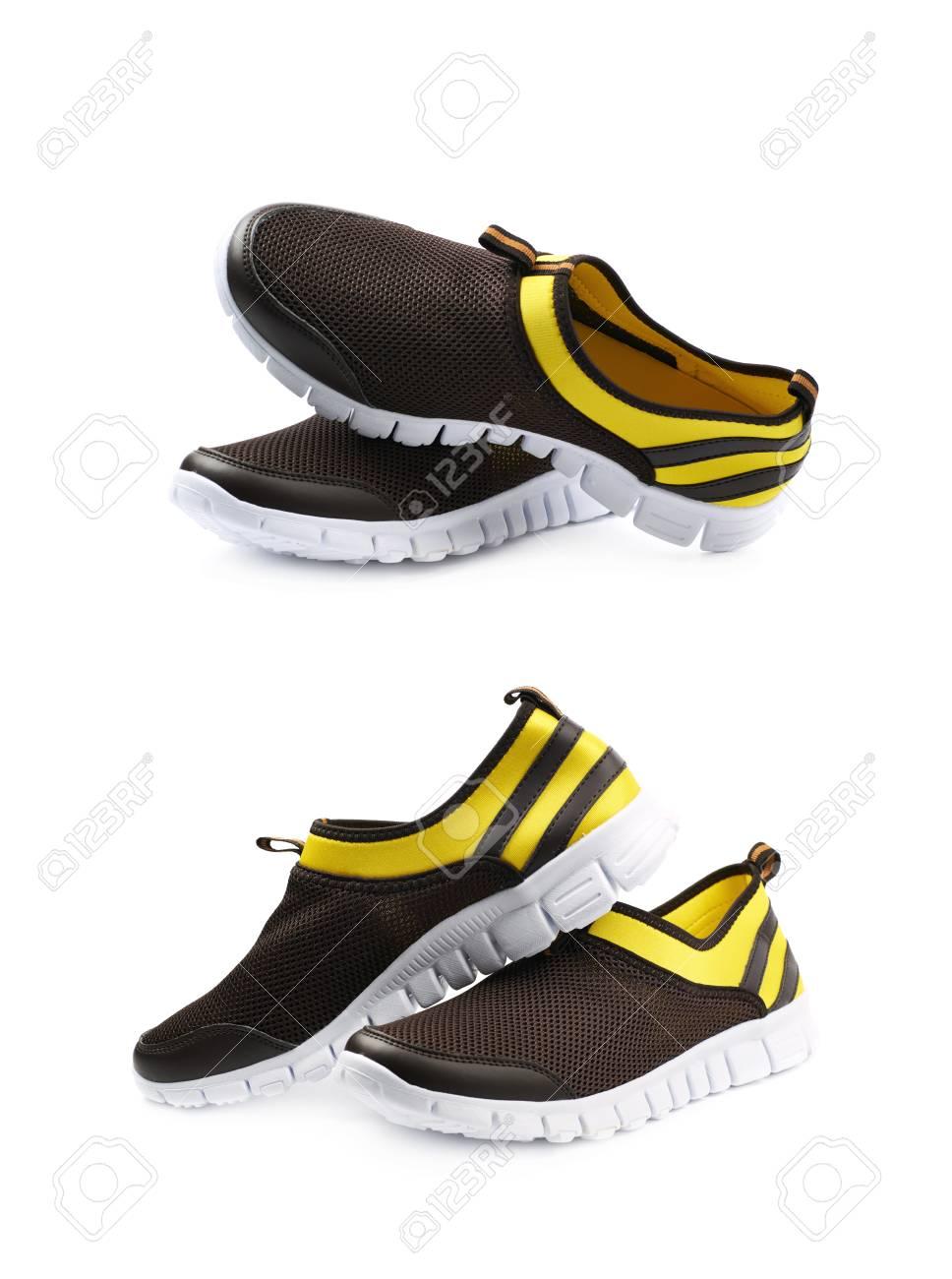 BlancoConjunto El Aislada Deportivas De Escorzos LigerasColor Sobre Par Dos Y NegroComposición Amarillo Fondo Diferentes Zapatillas Tl1JKFc3