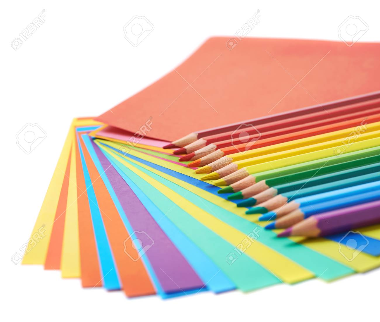 Twisted Pile Of Colorful Paper Sheets With The Multiple Drawing ...