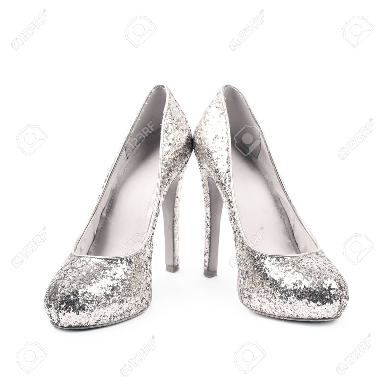 781e9df90fc Pair Of Shining Silver High-heeled Footwear Shoes