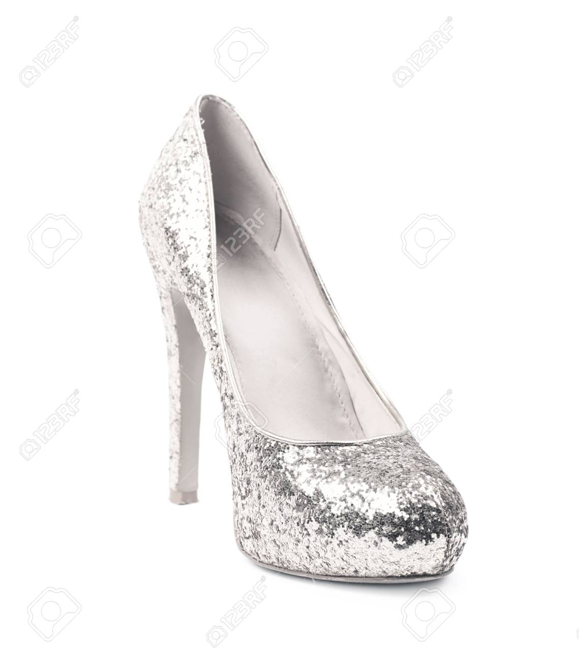 8f99fc76d59 Shining silver high-heeled footwear shoe isolated over the white background  Stock Photo - 61838113