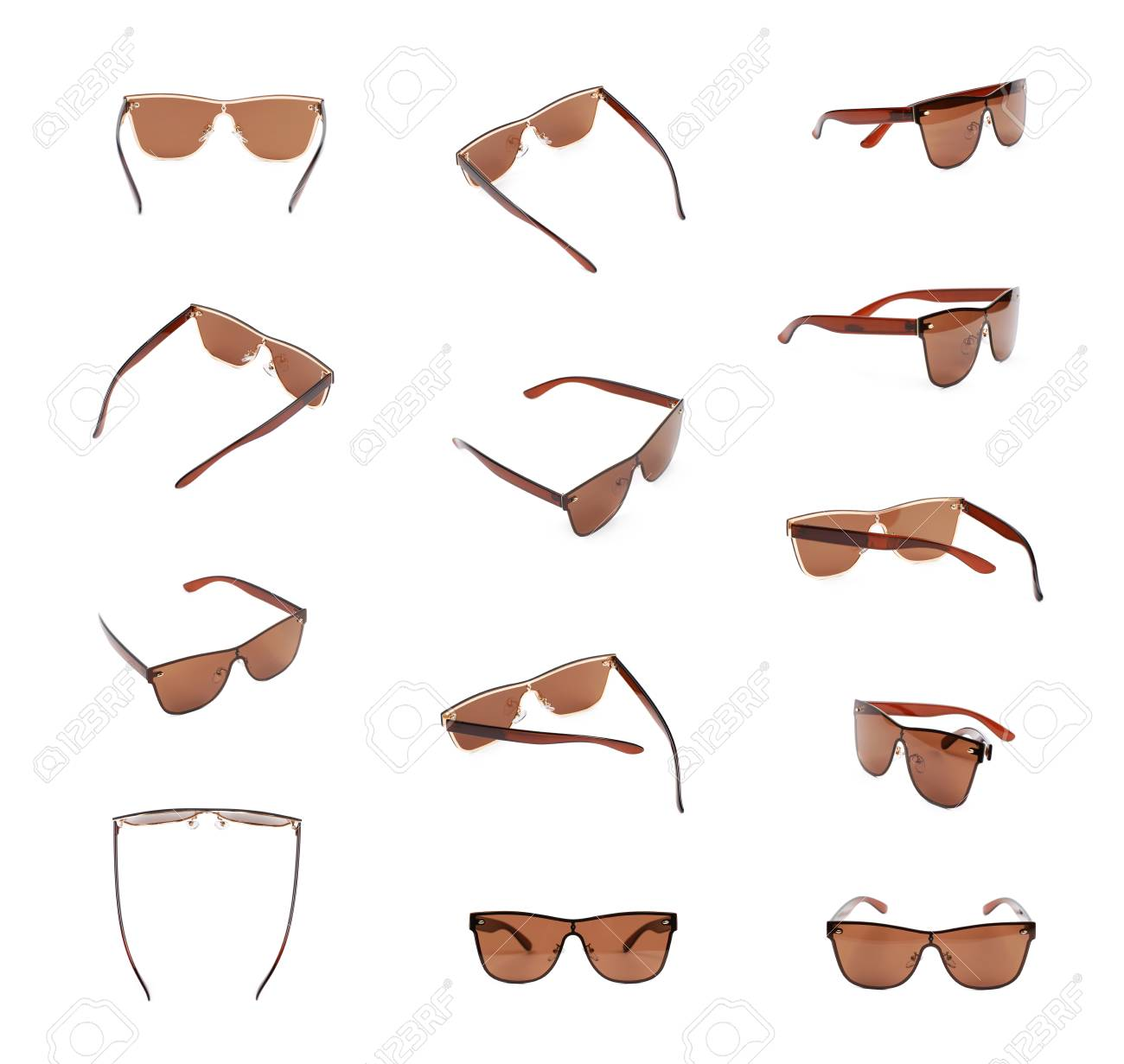 011dc15fe52 Pair Of Brown Shade Sunglasses Isolated Over The White Background ...