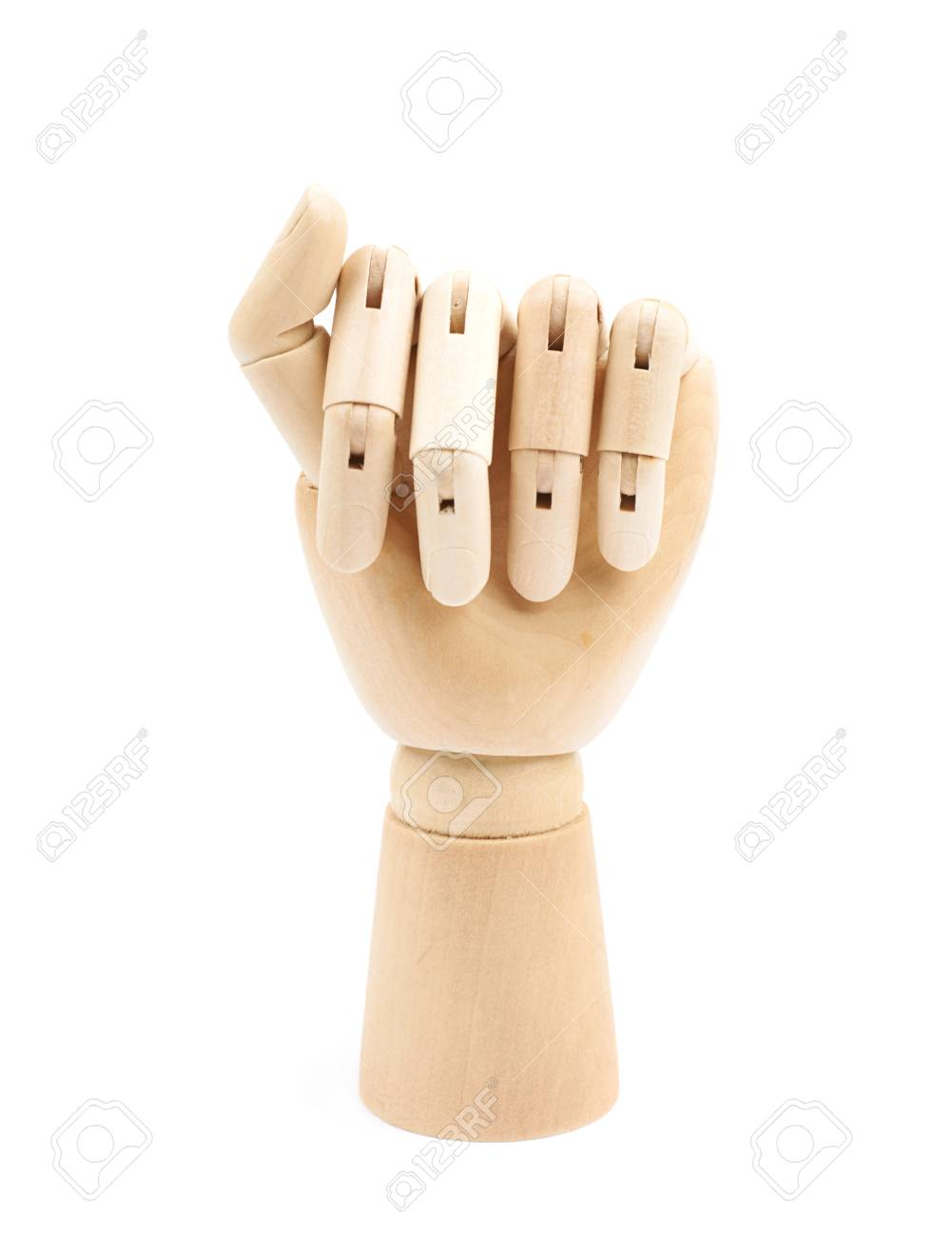 wooden hinge joint model of hand as a drawing reference composition