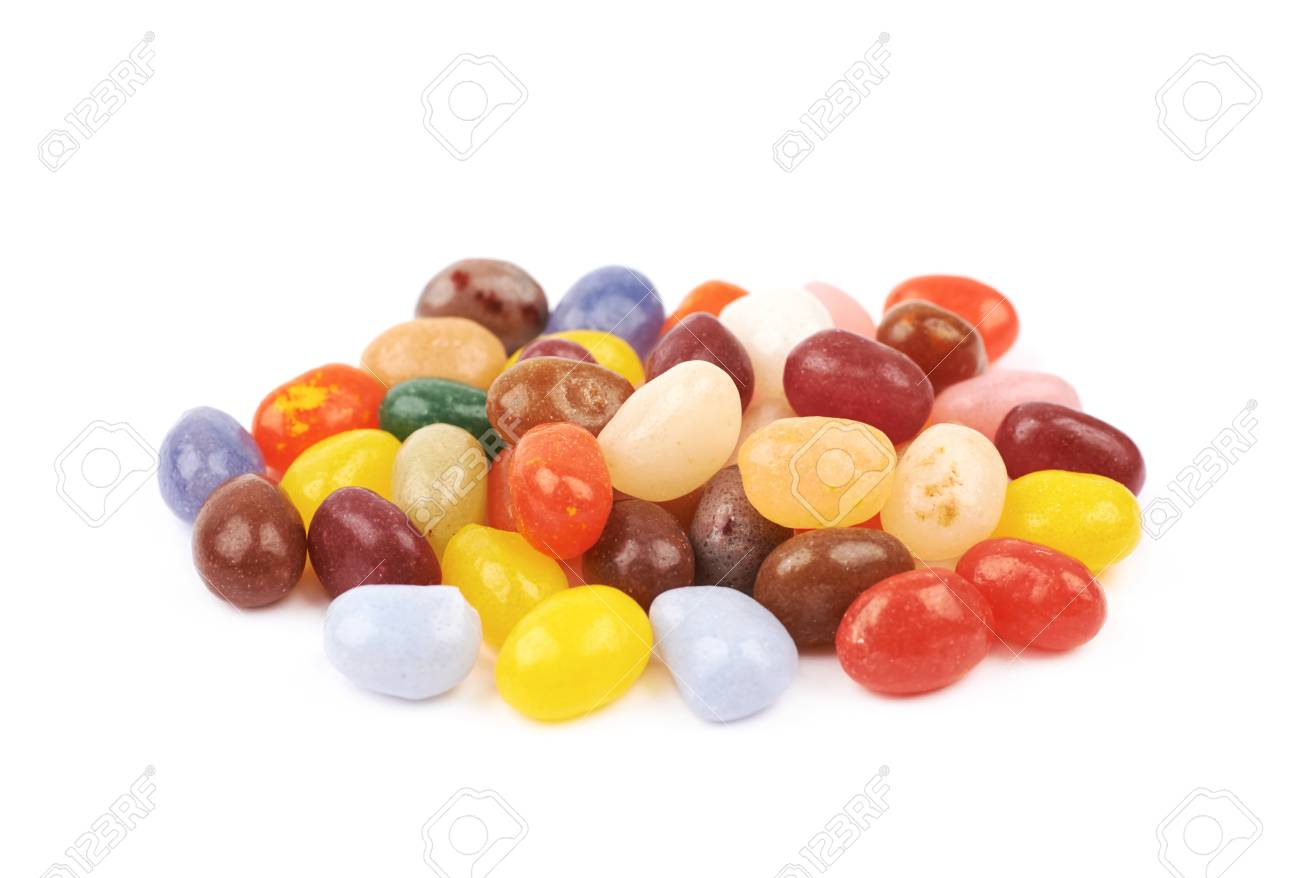 97267038 Pile of jelly bean candies isolated over the white background Stock Photo -  104017630
