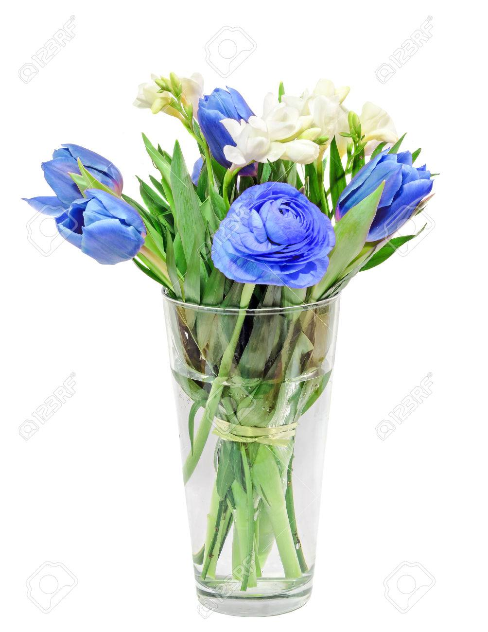 Blue Tulips White Freesias Ranunculus Flowers Bouquet Floral Stock Photo Picture And Royalty Free Image Image 70451367