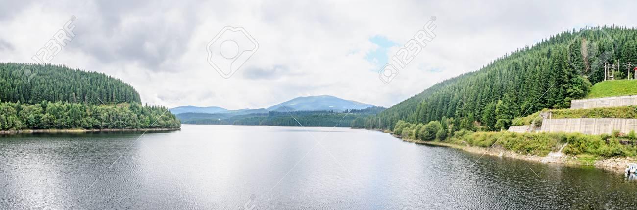 ダムと湖大朝 川 sebes 松林 sureanu 山 ロイヤリティーフリー