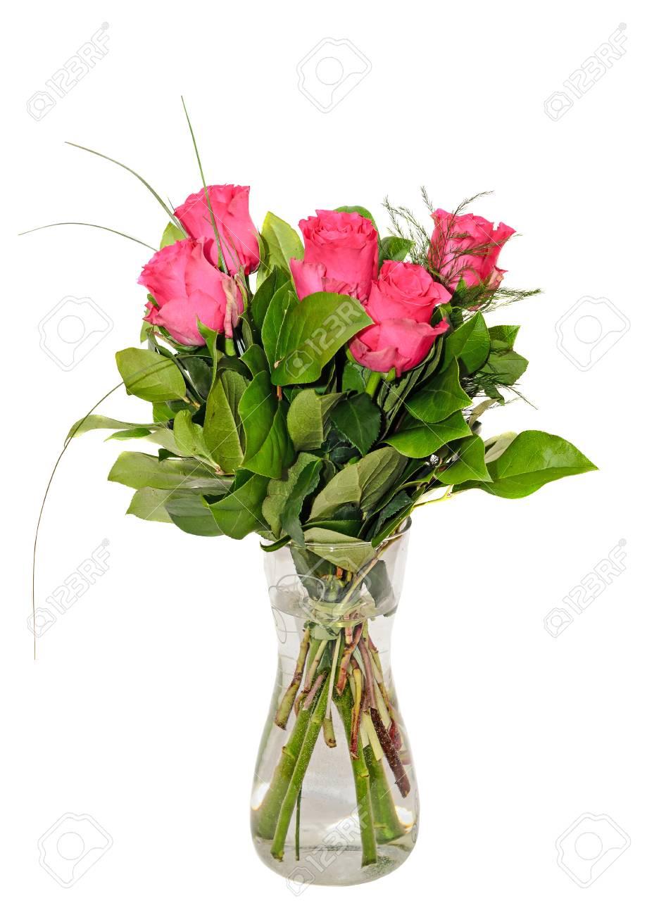 Dark Pink Roses Flowers Arrangement Green Leaves Bouquet In Stock