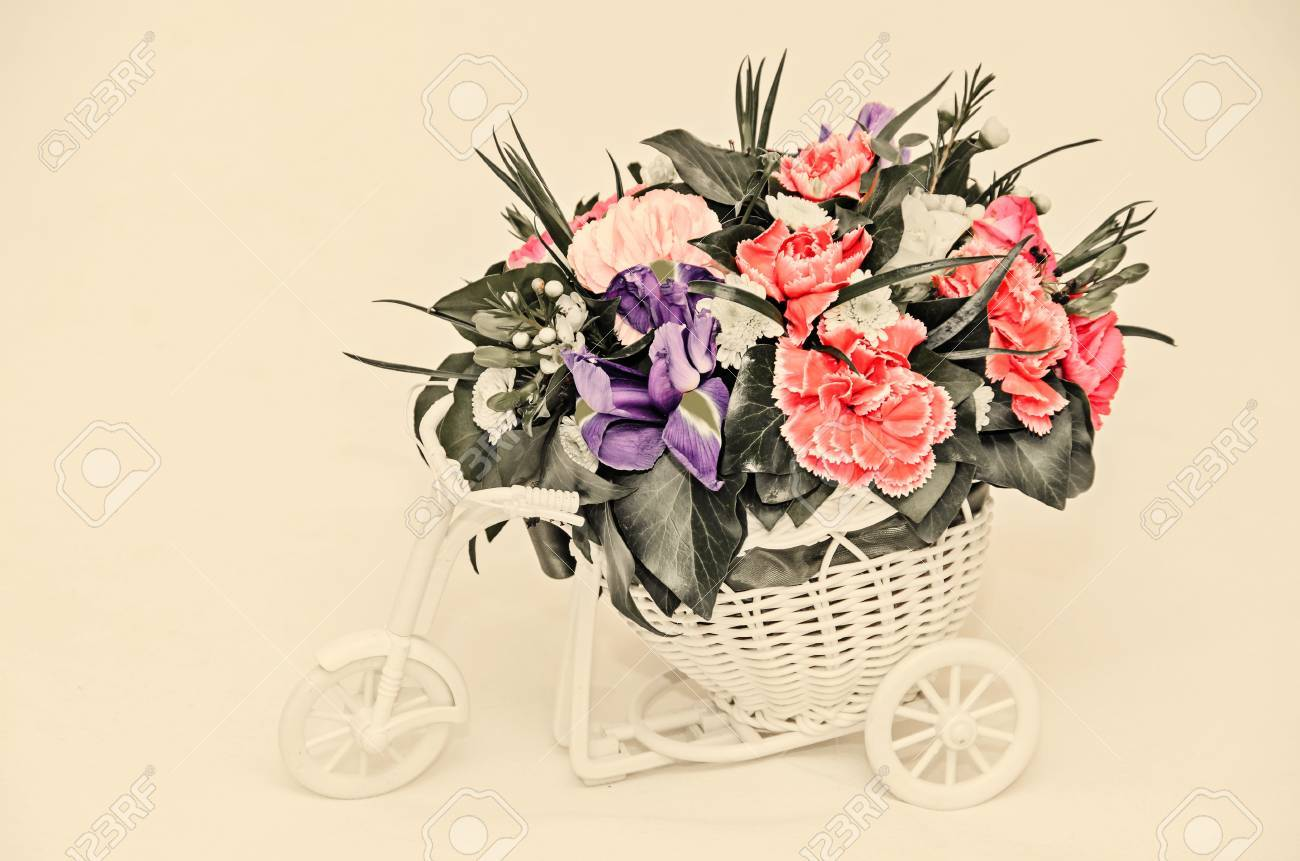 Floral arrangement with white bicycle and colored flowers roses floral arrangement with white bicycle and colored flowers roses iris chrysanthemums carnations mightylinksfo