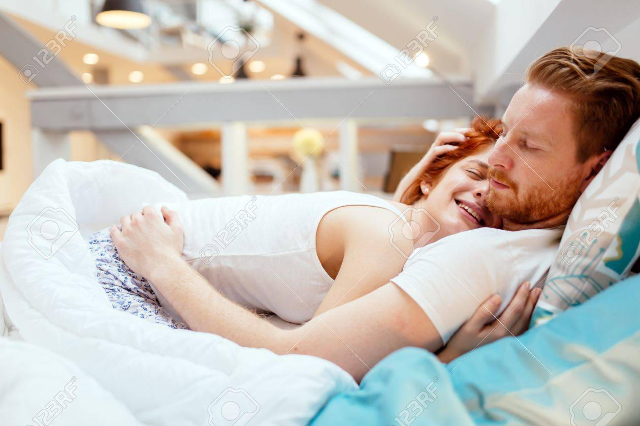 Peaceful Tender Love In The Arms Of Husband Makes Wife Happy Stock