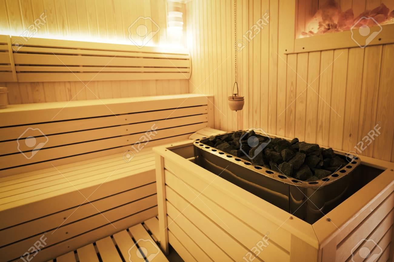 Healthy finnish sauna interior with decoration