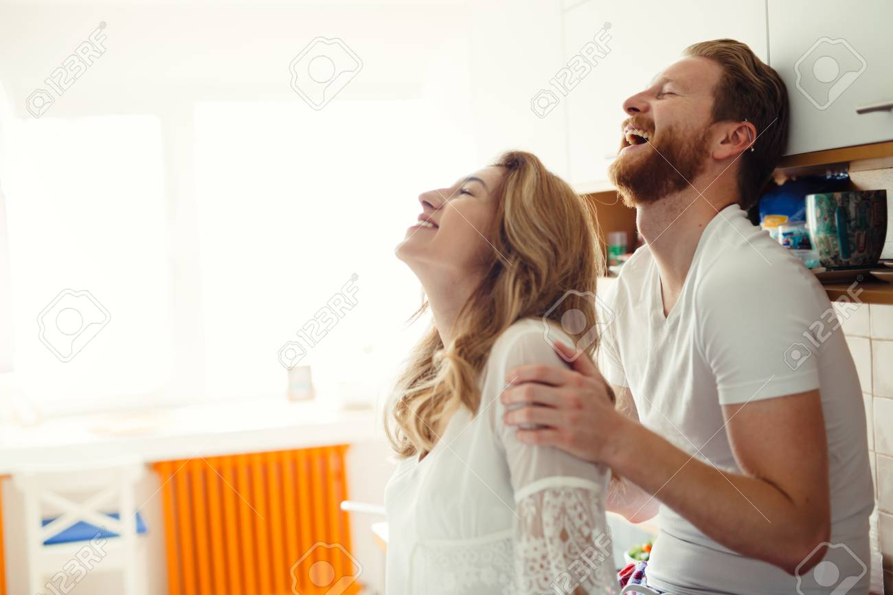 Romantic Couple In Love Speding Time Together In Kitchen Stock Photo ...
