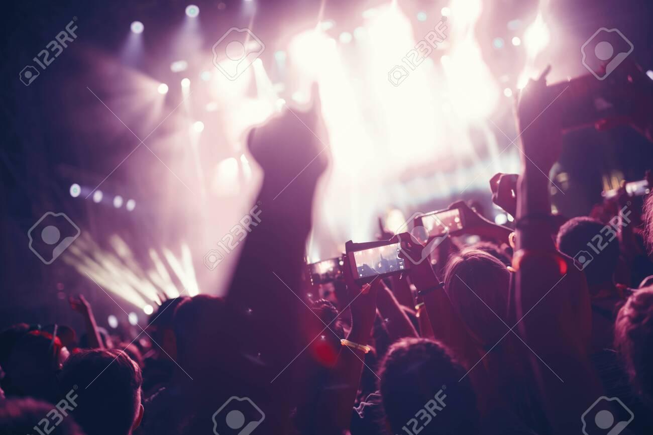 Portrait of happy crowd enjoying at music festival - 120154268