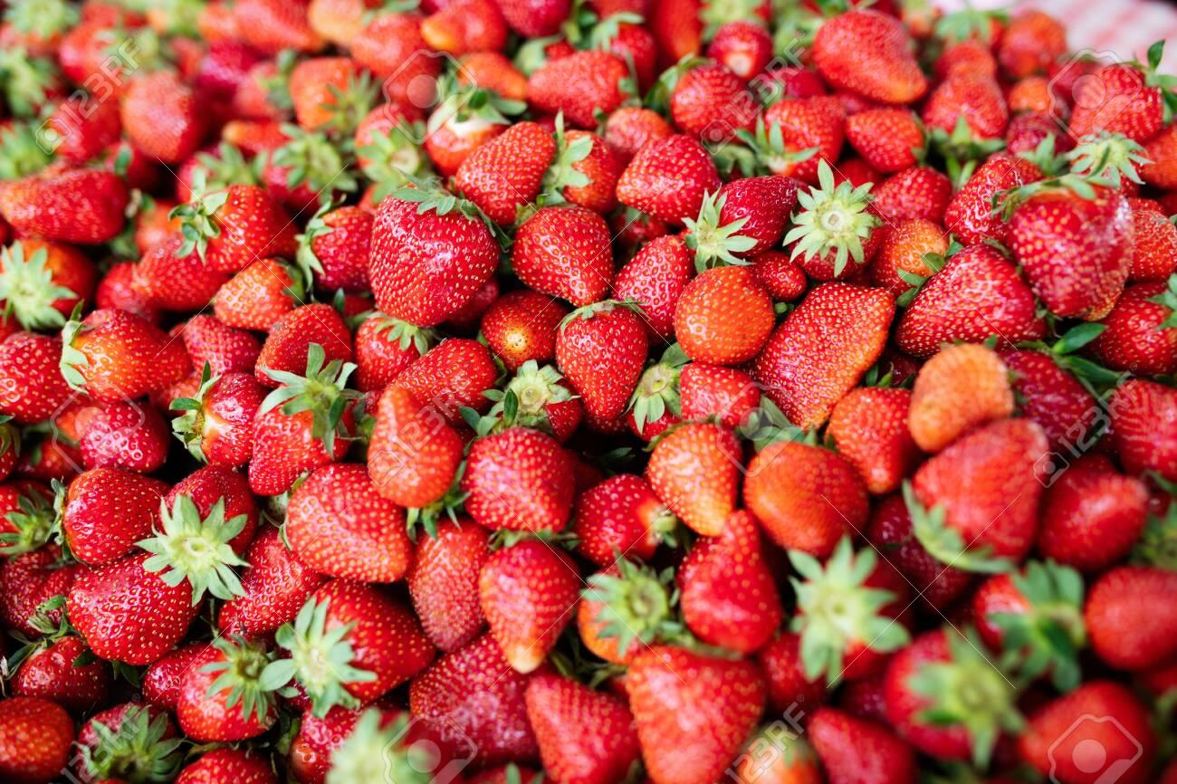 Strawberry. Fresh organic berries macro. Fruit background - 126077965
