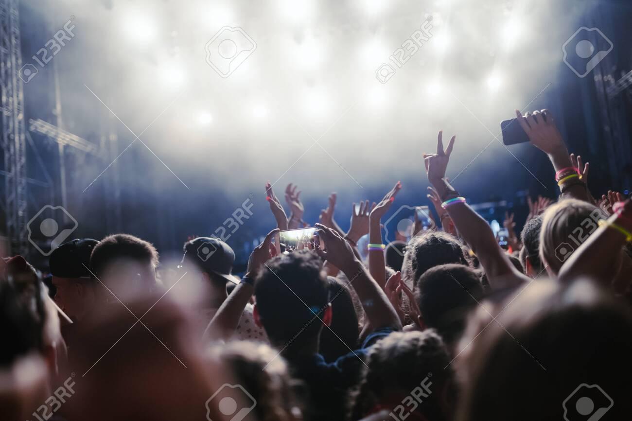 Portrait of happy crowd enjoying at music festival - 126745471