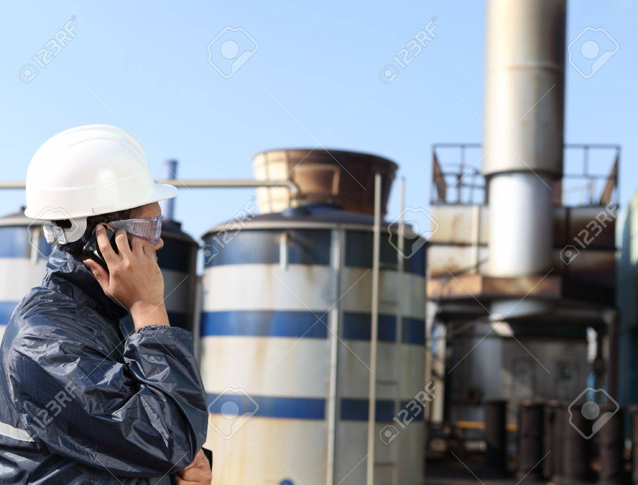 industrial engineer communicate via mobile phone Stock Photo - 16254296