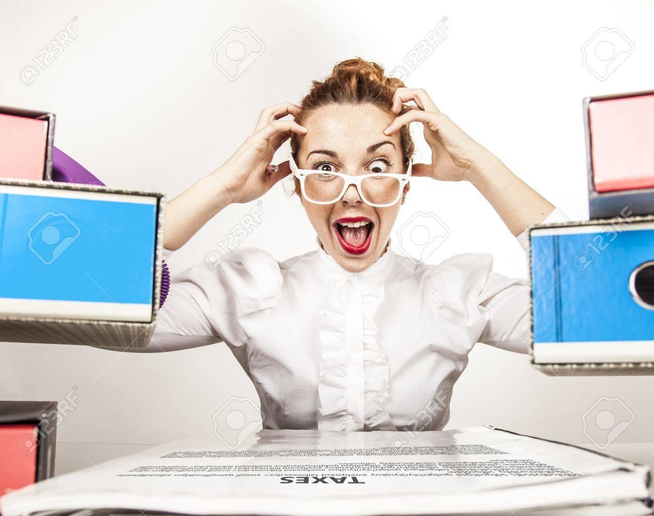 Stressed Secretary Stock Photo - 17574034