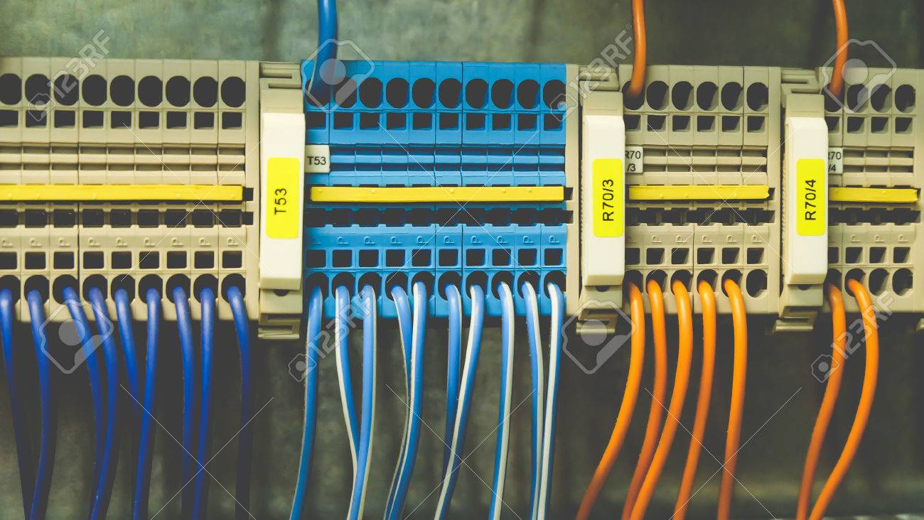 Colorful Wires PLC Cable In Control Panel System Stock Photo ...
