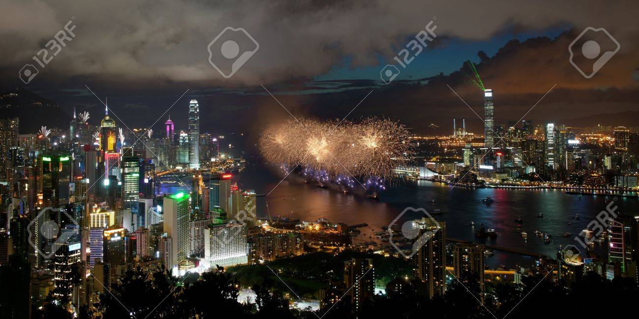 Fireworks in Hong Kong for reunification day 1st july 2012 Stock Photo - 14277028