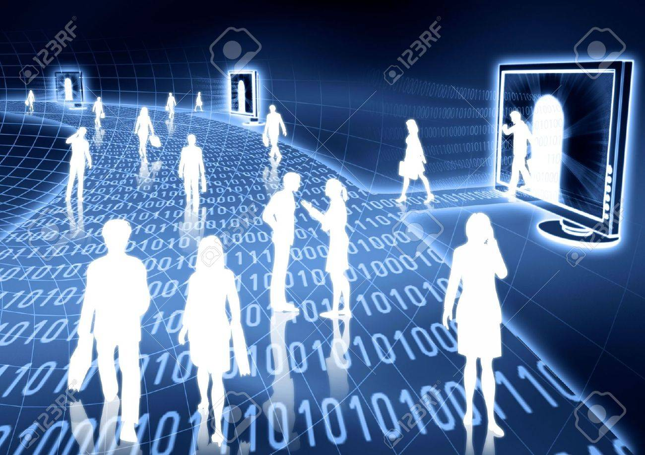 people doing business activity in virtual world of internet. Stock Photo - 3881643