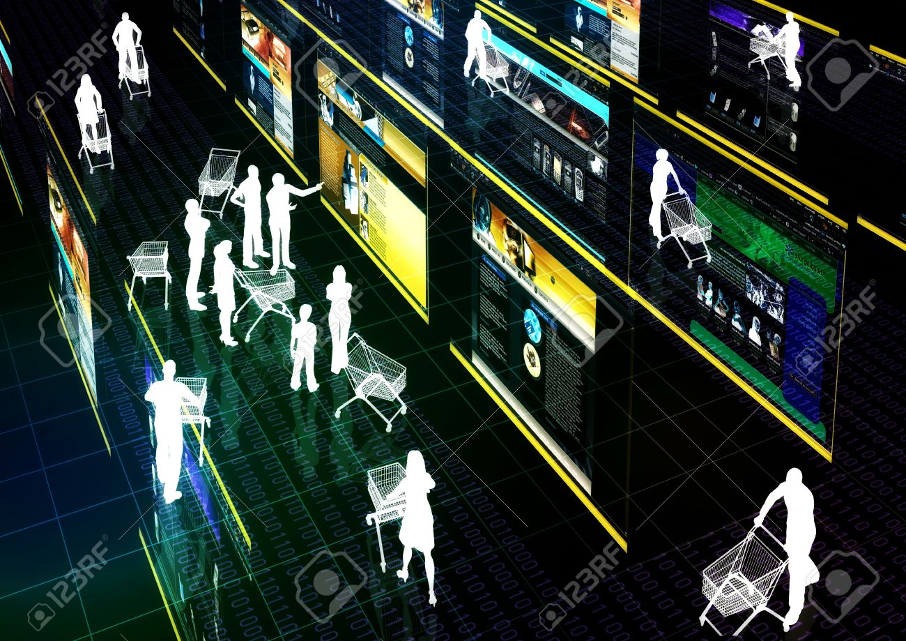 Internet marketer doing his business at a virtual shopping mall Concept Stock Photo - 9706709