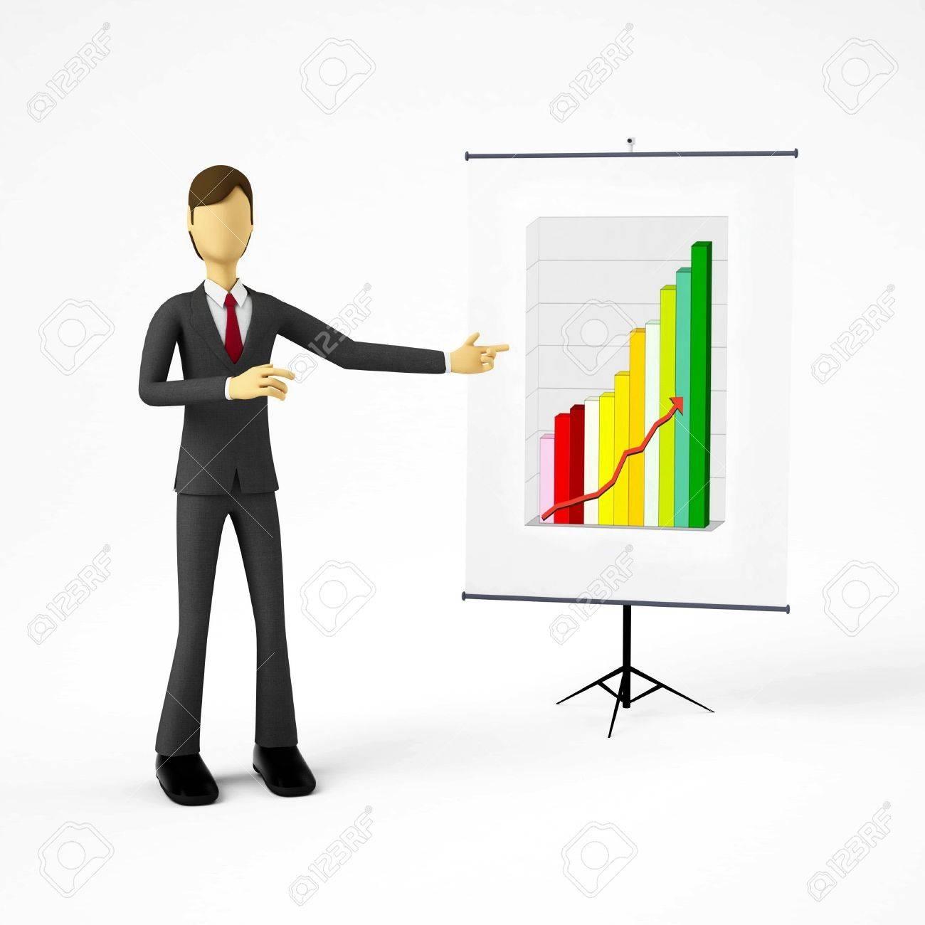 3d Businessman doing business presentation Stock Photo - 9706543