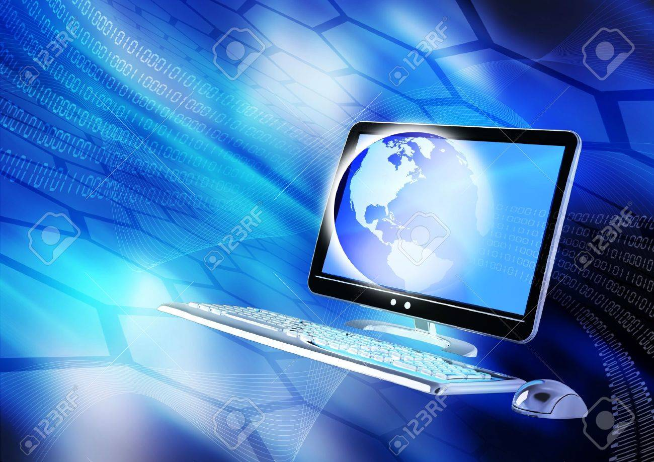 Internet concept presented in hi-tech blue blue background Stock Photo - 9706777