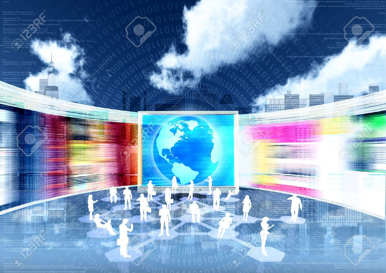 ebusiness concept with people doing business in internet virtual world Stock Photo - 12369546