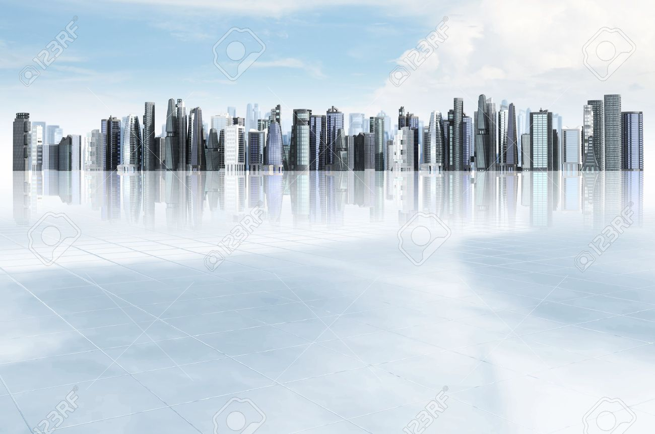 Modern City Background Illustrated With Architectural Commercial And Office Building Blue Sky Futuristic