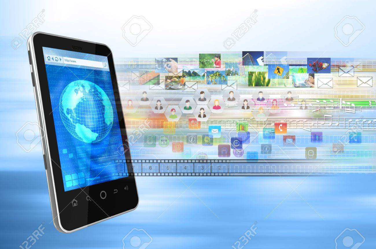 Conceptual image how a generic smart phone browser can be use to connect to internet to share multimedia files, song, picture, application, image, data, emails, video, contact etc Stock Photo - 13186273