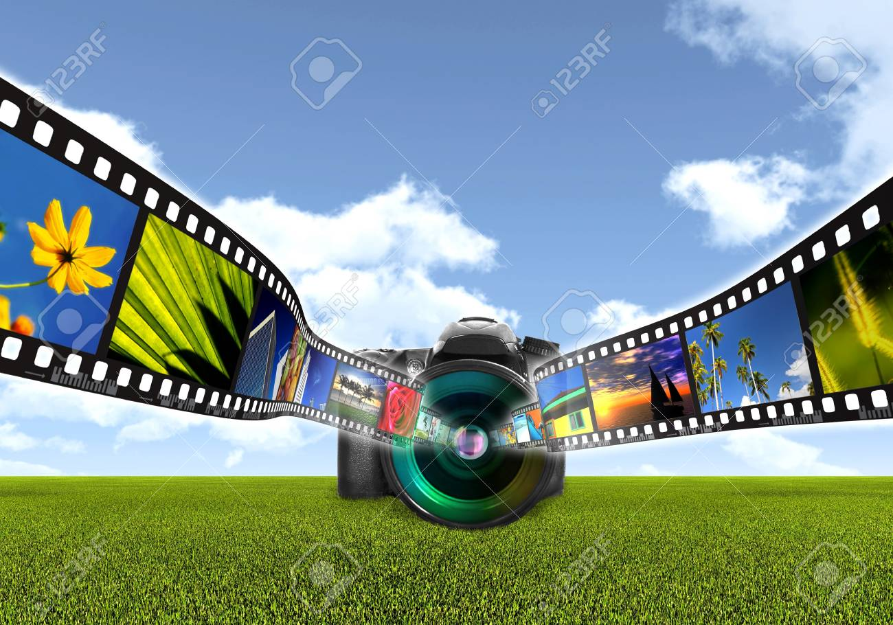 Digital Photography concept with digital single lens reflect camera capturing a filmstrip of images Stock Photo - 16568120