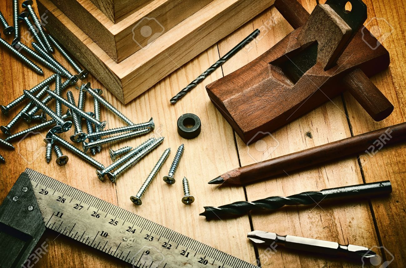 Woodworking Tools And Equipment In Still Life Photography Concept