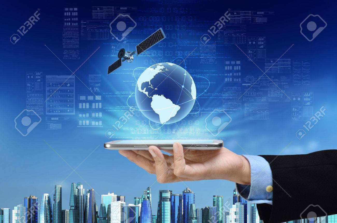 a concept of global internet connection on a smart phone with a concept of global internet