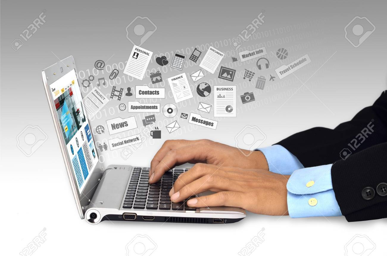 Businessman Doing His Daily Work And Social Network Activity.. Stock Photo,  Picture And Royalty Free Image. Image 50483038.