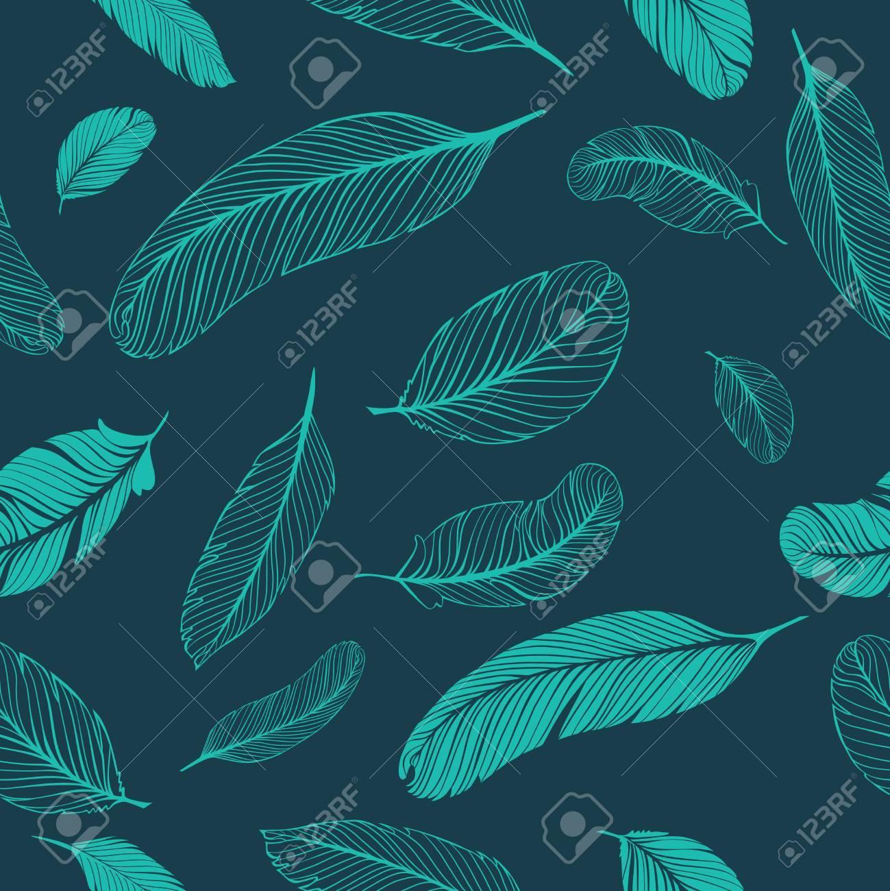 Feathers seamless pattern - 49364610